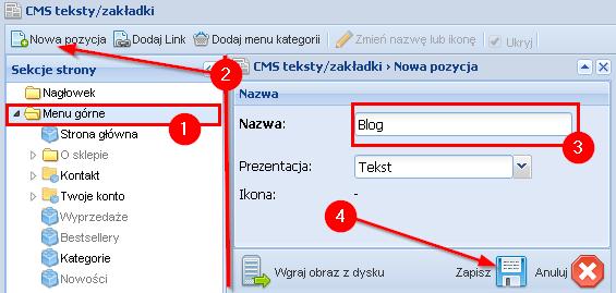 Dodawanie folderu blog do górnego menu