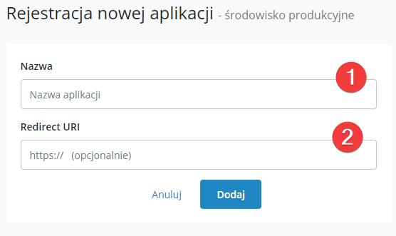 rejestracja aplikacji na stronie konto.furgonetka.pl