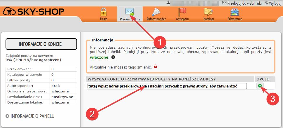 Webmail - Konfiguracja reguł wiadomości