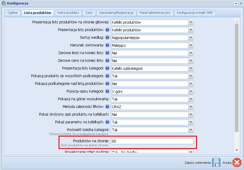 Konfiguracja -> Ustawienia ogólne -> Lista produktów