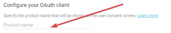 Okno nadania nazwy dla projektu niezbędnego do logowania przez Google+