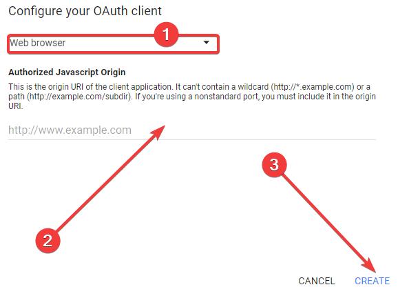 Konfiguracja projektu dla logowania przez Google+ - dodawanie sposobu i adresu przekierowania