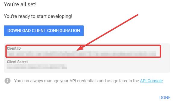 Klucze autoryzacyjne dla projektu potrzebnego do logowania przez Google+