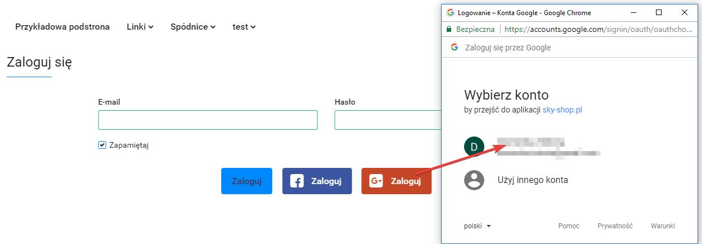 Przykładowy widok okna logowania przez Google+
