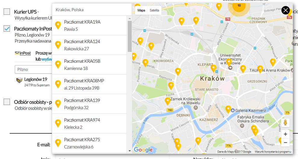 Widok mapy Paczkomatów InPost