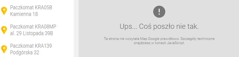 Komunikat - błędnie wprowadzony klucz API