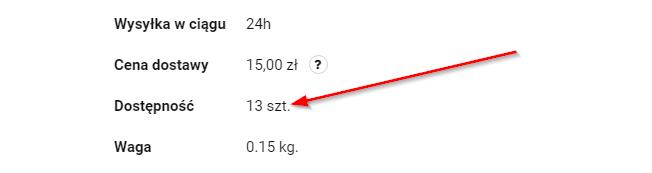 Widok ilościowej prezentacji dostępności w Sky-Shop.pl