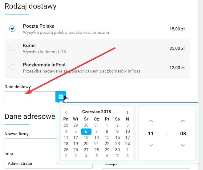 Przykładowy widok pola typu data/godzina w Sky-Shop.pl