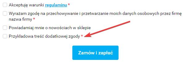 Przykładowy widok dodatkowego pola typu tak/nie w Sky-Shop.pl